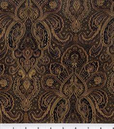 Brocade Fabric-Black-Bronze Tapestry