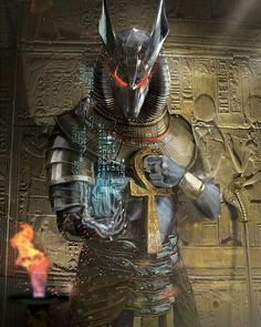 Anubis by Ionut Mitrofan as the cover of the Eternals: Fall of the Orisha comic by Vortex Comics Foto Fantasy, Fantasy Kunst, Dark Fantasy Art, Egyptian Mythology, Egyptian Goddess, Egyptian Art, Egypt Concept Art, Bastet, Ancient Egypt Art