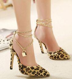 Elegant Leopard Print Point-Toe Lady High Heel Shoes
