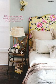 Lazybones Lemon Tree quilt & Duck Egg pillowcases in Country Style magazine, styled by Vanessa Colyer Tay