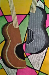 Abstract Art Guitar or Music Instrument Mixed Media Lesson @ www.createartwithme.com