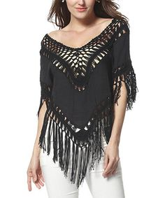 Another great find on #zulily! Black Crochet Boatneck Top by Simply Couture #zulilyfinds