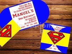 Invitación Superman. Hecha a mano. Personalizada.