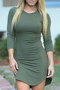 Sexy Jewel Neck Asymmetrical Long Sleeves Dress For Women
