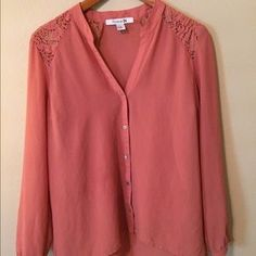 I just discovered this while shopping on Poshmark: Salmon lace sheer button down. Check it out!  Size: M