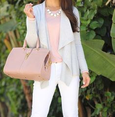 Waterfall wool Cardigan, statement necklace, white denim jeans, Blush YSL purse, Grey Wool Hat //  Click the following link for more photos and outfit details:   http://www.stylishpetite.com/2014/11/loft-waterfall-cardigan-blush-ysl-and.html