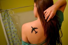airplane tattoo.for the death of a family member in the air force.