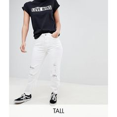 Noisy May Tall Destroyed Knee Mom Fit Jeans (€44) ❤ liked on Polyvore featuring jeans, white, ripped zipper jeans, denim jeans, white destroyed jeans, ripped denim jeans and high waisted ripped jeans