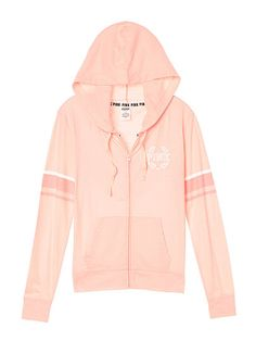 Lightweight Jersey Full-Zip Hoodie - PINK - Victoria's Secret For similar items… Vs Pink Outfit, Pink Outfits, Simple Outfits, Cute Outfits, Trendy Hoodies, Cool Hoodies, Victoria Secret Outfits, Victoria Secret Pink, Polo Outfits For Women