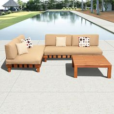 Enjoy this high quality, stylish furniture set made of eucalyptus wood. With versatile cushions and sturdy coffee table, this sectional set is the perfect addition to your patio.