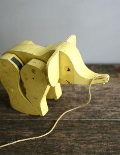 vintage walking elephant pull toy