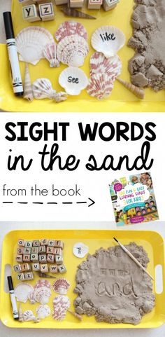 Sight Words in the Sand Game for Kids for Summer and Sensory Fun from the book 100 Fun Easy Learning Games for Kids Kids Sight Words, Teaching Sight Words, Sight Word Games, Sight Word Activities, Literacy Activities, Alphabet Activities, Word Bingo, Ocean Activities, Playdough Activities