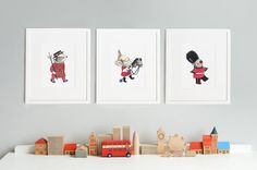 SET of 3 Prints, London Theme Nursery, British Guard, Beefeater, Queens Cavalry Guard, Royal Baby Art, Children's Pictures, Paintings