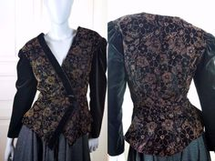German Vintage Women's Blazer, Black Velvet Jacket w Gold Lurex Thread Floral Pattern, European Cocktail Jacket: Size 10/12 US, 14/16 UK by YouLookAmazing on Etsy
