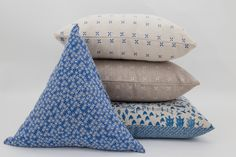 Daisy Raine Triangle Cushion with Country Fields and Margherita Cushions #Triangle #BlueDecor
