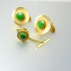 Jade is an ancient symbol of love and virtue.   JADE Gold Cufflinks Vintage DIAMOND CUT Tie Tack Set with chain Green Gemstone Energy Robust. A