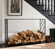 Lattice Fireplace Log Holder | Pottery Barn