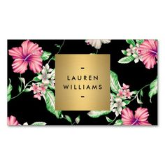 Black and pink floral print business card template with gold nameplate/logo for makeup artist, beauty consultant, stylist, salon, spa and more. Customize the front and back of the card with your own info. Instant preview. Easy to order. Fast shipping.