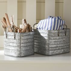"""Love these square metal """"buckets"""" for decor, storage, or just about anything. Rustic organization at its best! Kitchen Organization, Storage Organization, Organizing, Storage Containers, Storage Boxes, Bathroom Counter Storage, Metal Baskets, Rustic Farmhouse, Rustic Decor"""