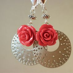 Sexy Spanish style Lasercut hoop earrings with lucite red by ElSol, $10.00