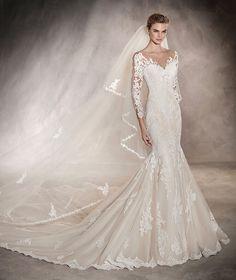 TIBET - Vestido de noiva de corte baixo e motivos florais