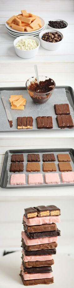 Homemade Kit Kat - from  abeautifulmess.com  - Wendy Schultz ~ Candy + Chocolate + Nuts.
