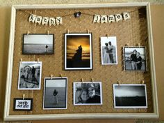 Wedding collage gift made from old picture frame & chicken wire.