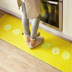 Abreeze Yellow Kitchen Rug, 1 Piece Creative Non-Slip Kitchen Mat Rubber Backing Doormat Runner x