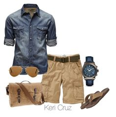 Men's Summer Fashion by keri-cruz on Polyvore featuring Salvatore Ferragamo, Ray-Ban, Jack & Jones, J.Crew, Kenneth Cole Reaction and Old Navy