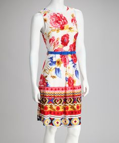 Take a look at this Cream & Red Belted Floral Dress - Women by Reborn Collection on #zulily today!