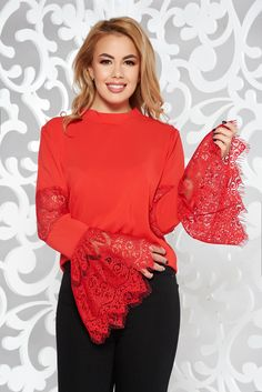 StarShinerS red women`s blouse elegant with bell sleeve laced soft fabric flared Product Label, Lace Detail, Soft Fabrics, Bell Sleeves, Ruffle Blouse, Turtle Neck, Elegant, Long Sleeve