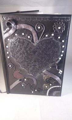 Polymer clay A5 hardback journal heart journal by MysticalForestUK
