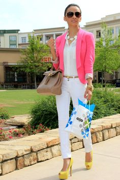 pink blazer, white pants, nude belt and shoes and yellow sky high heels.
