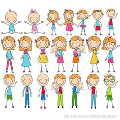 AUBURN We are Family Stick Figures Cute Digital by JWIllustrations