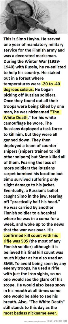 The most bad-a sniper in history…