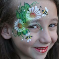 Simple face painting designs are not hard. Many people think that in order to have a great face painting creation, they have to use complex designs, rather then simple face painting designs. Face Painting Flowers, Eye Face Painting, Face Painting Designs, Paint Designs, Face Art, Body Painting, Simple Face Painting, Face Paintings, Bee Face Paint