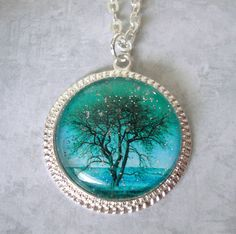Art Glass Magical Night Tree Necklace with a 24 by lucindascharms