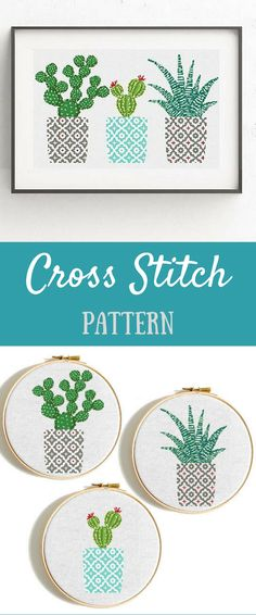 Cactus cross stitch pattern Geometric cross stitch pattern Natural embroidery sampler Flower, floral cross stitch PDF printable Modern Gift #affiliate