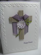Stampin' Up! HAPPY EASTER Cross God Pearl Palm Purple Card Kit - 4 Cards