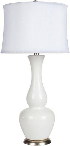 Lamp Ivory White Ceramic Faux Linen Table Lamp - 14x30