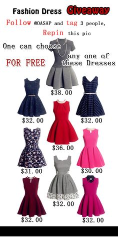 New Giveaway Event ☆1. Follow @OASAP ,Tag 3 people, Repin this pic. ☆2.from Now to Nov.9th, One can choose one of these dresses FOR FREE.