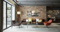 The fifth and final apartment makes much more polished use of exposed brick. The accent wall in the living room is yes, unfinished, but the brick is perfectly even and smooth, making it sleek yet textured.