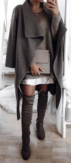 Grey Cape // Knee Length Boots // Grey Sweater Dress