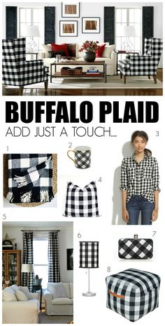 Love these ideas for adding black and white buffalo plaid to the home #decorating #interiordesign #fabric