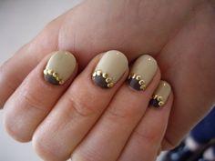 Metallic studded  half moon nails http://www.littlevegaswedding.com/2012/10/wedding-day-nail-art/