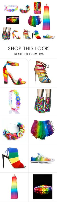 """""""My Favorite Rainbow Things"""" by marz-kij00 on Polyvore featuring Salvatore Ferragamo, Nelly Bernal, Aquazzura, Converse, Topshop and rainbow"""