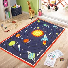 KIDS ROOMS GALAXY PLANET BEDROOM RUGS NURSERY FLOOR PLAY MATS GIRLS HOME CARPETS
