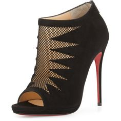 Christian Louboutin Disorder Cutout Suede Red Sole Bootie ($1,195) ❤ liked on Polyvore featuring shoes, boots, ankle booties, heels, christian louboutin, dauntless, black, shoes booties, short black boots and suede peep toe booties