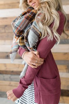 This gorgeous wine colored cardigan would go great with all your fall looks