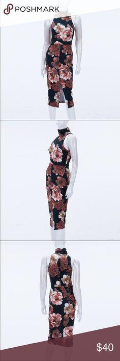 Floral print high Neck slit dress 100% American made. Floral print high neck slit dress. 95% rayon 5% spandex Dresses Midi